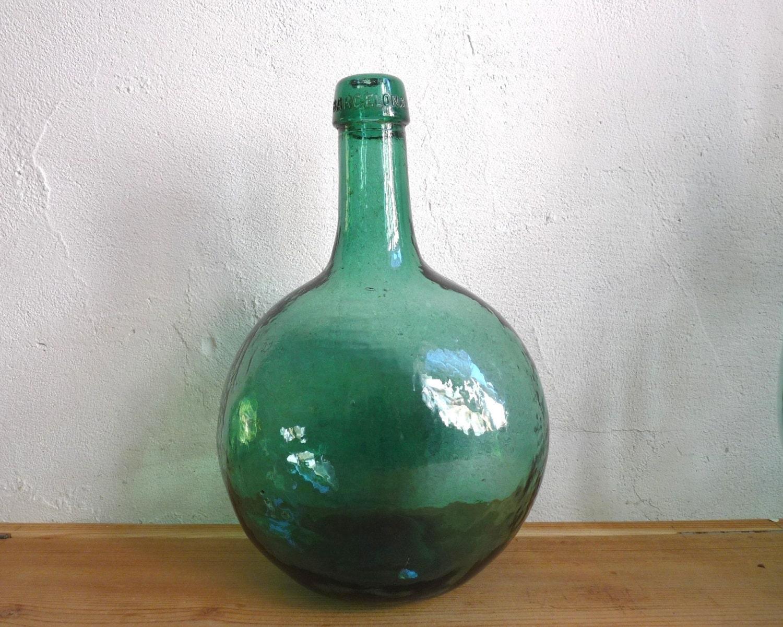 vintage small demi john dame jeanne aqua green glass oval. Black Bedroom Furniture Sets. Home Design Ideas