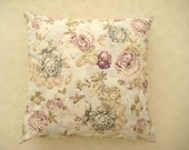 """Linen White Pillow Cover with Gray Purple and Beige Floral Print - 18x18"""" - Gift for Her, for Mom - Ready to Ship"""