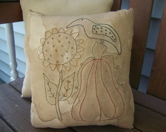 Primitive Pumpkin Sunflower Crow Stained Stitchery Pillow Autumn Decor