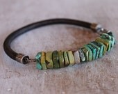 Mens Bracelet Rugged Turquoise Leather sterling silver mens jewelry