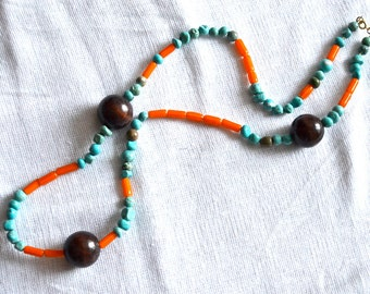 Bold Orange Chevron Glass and Turquoise Magnesite Beaded Necklace with Asymmetrical Dark Wood Detail