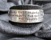Marilyn's Better Things - upcycled leather cuff-hand stamped silverware jewelry
