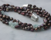 Short pearl necklace fall colors brown chocolate lush genuine pearl necklace aquamarine silver 925 magnetic