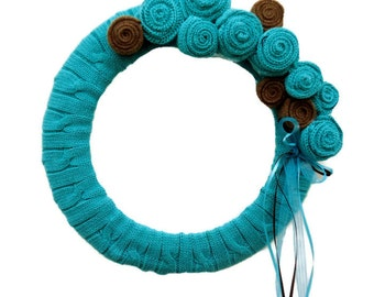 Turquoise & Brown Sweater Wreath Summertime  Sweater Wreath