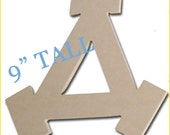 Wood Greek Letter Delta 9 inches for Sorority Crafts MDF unfinished fun, funky font, custom designed for Greek Crafting