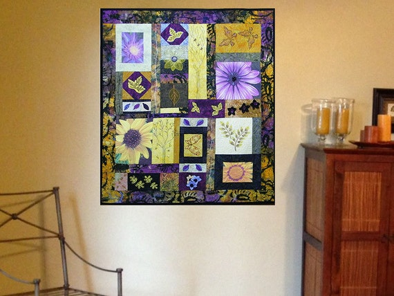 Textile Fiber Art  Botanical Quilted Wall Hanging