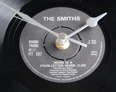"""The Smiths CLOCK """"Work Is A Four Letter Word"""" or """"Girlfriend In a Coma"""" A recycled 7"""" vinyl single 7"""" record  men women birthday Morrissey"""