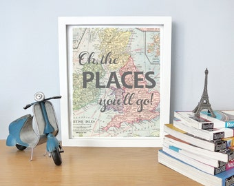 Printable - Oh, the places you'll go Dr. Seuss vintage map print for nursery or kid's room baby shower new mom gift