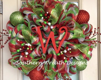 "27"" Red, Silver and Lime Deluxe Initial Christmas Wreath"