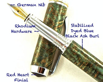 Custom Wooden Pen Custom Fountain Pen Black Ash Burl Stabilized and Dyed Blue  Rhodium and Gold Titanium Hardware 620FPB