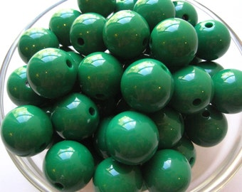 10 Green Chunky Necklace Beads, 18mm, Gumball Beads, Bubblegum Bead, Acrylic Bead, Plastic Bead, Round Bead