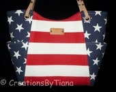 Red White and Blue - Patriotic - Bag - Purse - Handmade - Handbag - Stripes - Shoulder Bag - leather handles