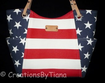 Red White and Blue - Patriotic - Bag - Purse - Handmade - Handbag - Stripes - Shoulder Bag - leather handles