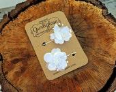 White Flower Hair Pin, Hair spray pin, Flower bobby pin, bride hair pins, flower girl hair pins