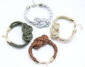 Silk Knot Bracelet - 24k gold plated - bridesmaid set -  tie the knot bracelet, nautical bracelet, wedding gift, beach wedding