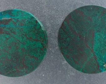 "Malachite Chrysocolla 1 1/8"", 28.5mm ear plugs one pair"