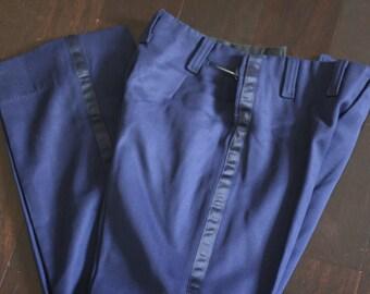 vintage navy blue wool uniform pants size 28W nicsinger uniform co