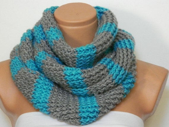 Knitted infinity Scarf Hand Knit Striped Gray by WomanStyleShop