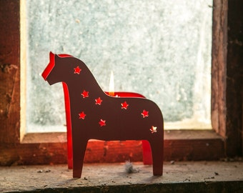 Candle holder // Metal Lantern // Scandinavian Dala horse // FREE SHIPPING