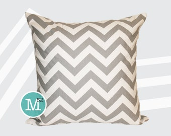 Grey Chevron Pillow Cover - 18 x 18, 20 x 20 and More Sizes - Zipper Closure - sc1820