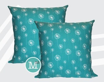 Turquoise Dandelion Pillow Covers - 20 x 20 and More Sizes - Zipper Closure
