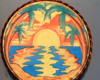 Tropical Sunrise-handmade magnet, made with Illuminations sticker,1980's or early '90's