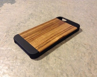 IPHONE 5 or 5s  CASE ,  hand  polished exotic  ZEBRANO real wood  back ,sharp looking black edge