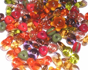 FALL MIX - Handmade Glass Lampwork Beads - Reds Olive Brown Autumn Colors  - Set of 20