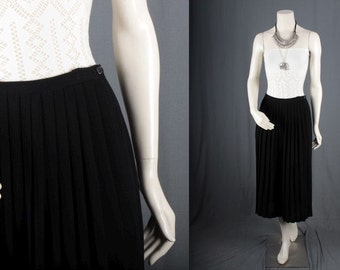 Black Pleated skirt pleats skirt maxi long womens size S small