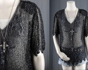 Black Sequin Top Blouse Beaded fringe disco bohemian size M medium