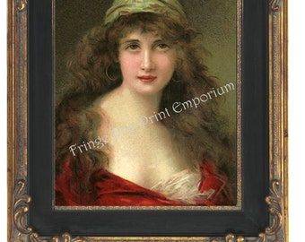 Art Nouveau Art Deco Gypsy Art Print 8 x 10 - Brunette Gypsy Woman - Bohemian