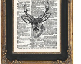 Deer Head Art Print 8 x 10 Dictionary Page  - Altered Art Collage - Majestic Woodland Creature - Taxidermy - Buck