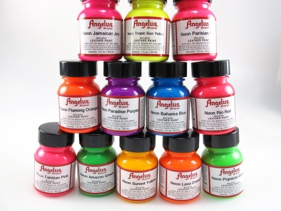 neon angelus acrylic leather paint pack 12pk 6 67