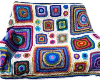 Crochet afghan kaleidoscope rainbow, circles to squares, circles in squares, groovy hippie funky,  MADE TO ORDER