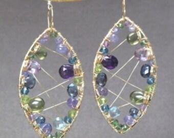 Hammered marquise earrings vessonite, amethyst, topaz, peridot Luxe Bijoux 235