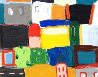 Large Original Contemporary Cityscape Acrylic Painting