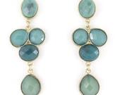 Beautiful Elegant Gold-tone Green Stone Drop Earrings D6