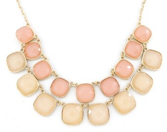 Gorgeous Gold-tone Double Chain Light Pink Square Stone Statement Necklace,C6