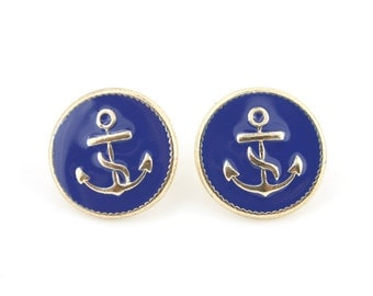 Bright Gold tone Navy Blue Enamel Anchor Post Stud Earrings,R4