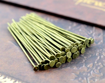 100pcs 45mm Antique Bronze T Pin/ Headpins Findings