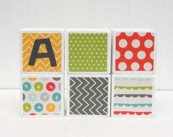 Personalized Baby Blocks - SET OF 6  - Yellow Gray Green Chevron Dots Arrows