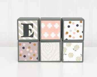 Baby Blocks Personalized - SET OF 6 - Girl - Gold Navy Pink Gray Cream Neutrals