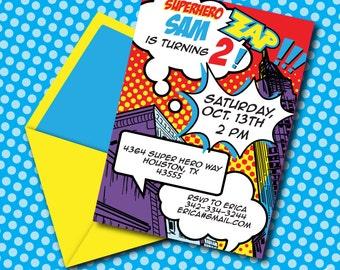 INSTANT DOWNLOAD Super Hero Boy Printable 5 x 7 Invitation, You Edit Yourself in Adobe Reader
