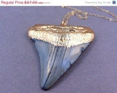 Megladon Tooth Necklace - Authentic 24k gold dipped ancient Megalodon Shark Tooth Necklace Pendant - Fashion 2012
