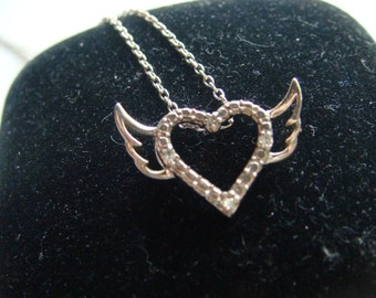Silver Heart with Wings and Diamonds