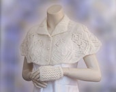 Hand Knit Shawl ,Cream Shawl, Winter accessories,Wedding Shawl,Bridal Shawl , Bride Bolero,shrug , Bolero, Wedding capelet