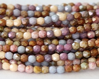 Opaque Luster Mix Czech Glass Beads, 4mm Faceted Round - 100 pcs - eP10-4