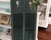 Antique shutter  turn of the century double shutter  urn cut out shutter Rare green patina  wedding   escort card holder OLD HOUSE SHUTTER