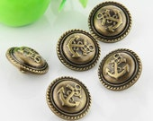 6 pcs 0.59~0.98 inch Retro Bronze Anchor Plastic Shank Buttons for Coats