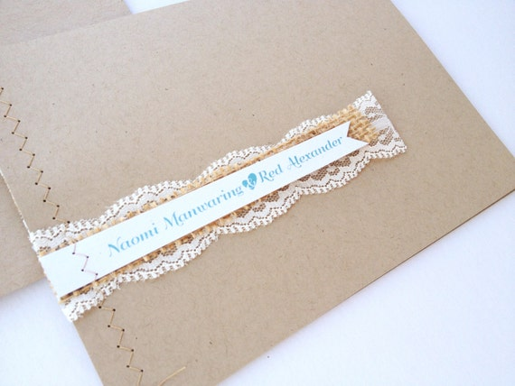 Burlap Lace Sewn Vintage Barn Wedding Invitations with Mad Libs RSVP Burlap Rustic Teal Shabby Chic Country Chic Woodland Pennant Bunting